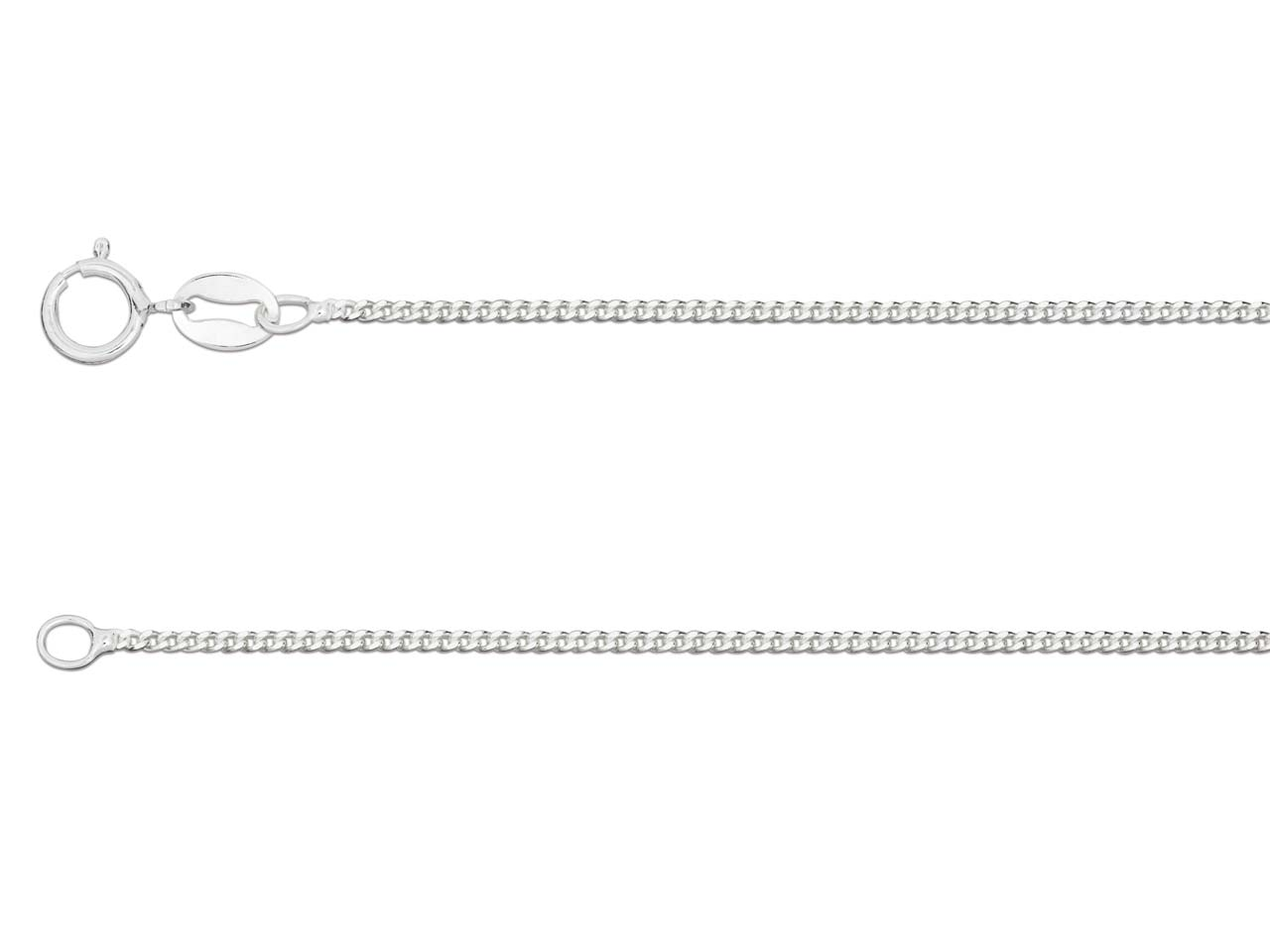 Silver sterling chain type Gourmette_diamantee