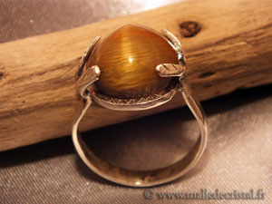 Silver ring Cat's tiger eye's argent massif 925