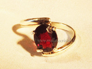 Silver ring Red garnet argent massif 925