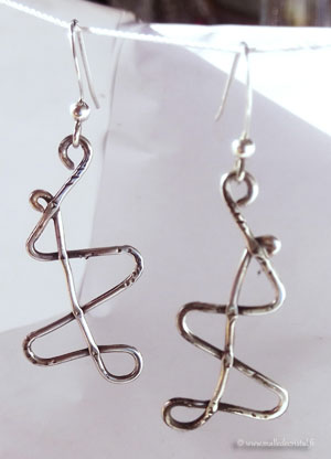 Silver sterling earrings Temporal curvature