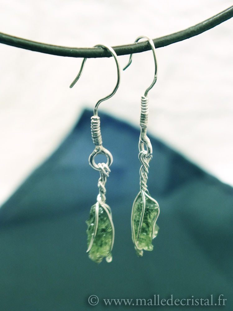 Earrings Moldavite Silver sterling 925