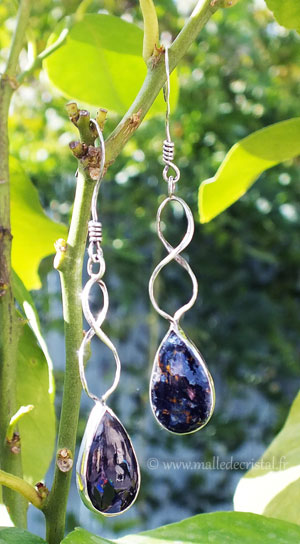 Earrings Pietersite Bleue Silver sterling 925